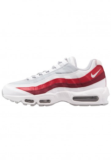 Nike Footwear Air Max 95 Essential - Chaussures de Sport Basse/Faible - Blanc/Gris Loup/Platine Pur/Rouge Équipe/Rouge Gymnase - Homme