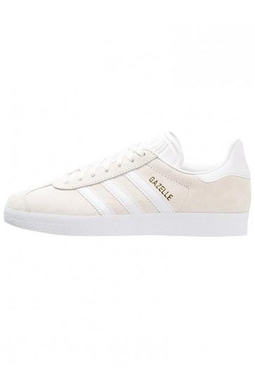 Adidas Originals Gazelle - Chaussures de Sport Basse/Faible - Blanc Pur/Blanc/Or Métallisé - Femme/Homme