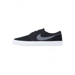 Nike SB Solarsoft Portmore II - Chaussures de Sport Basse/Faible - Noir/Vert Foncé/Blanc - Homme