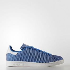 Chaussures de course d'origine pour femme - Adidas Stan Smith textile - Bluebird/Bleu et blanc