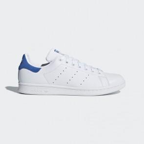Femmes Original Chaussures de sport Adidas Stan Smith - Blanc et Bleu royal(Trace Royal)