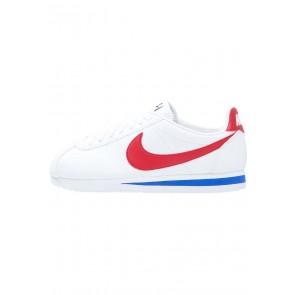 Nike Footwear Classic Cortez Leather - Chaussures de Sport Basse/Faible - Blanc/Rouge Université/Bleu Royal/Bleu Foncé - Femme