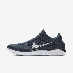 Chaussures de course 942838-400 Nike Free RN Flyknit 2018 pour homme bleu marine collège/bleu escadron/blanc
